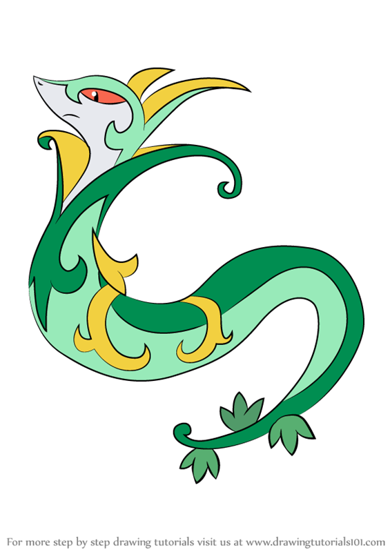 Learn How to Draw Serperior from Pokemon Pokemon Step by Step Drawing Tutorials