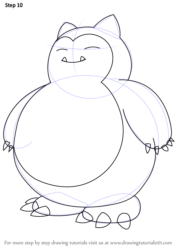 Learn How To Draw Snorlax From Pokemon Pokemon Step By