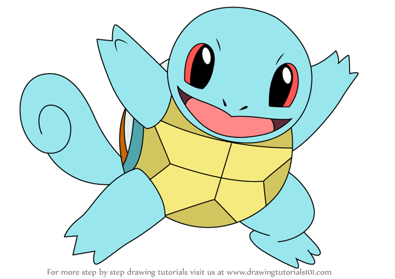 step by step how to draw squirtle from pokemon