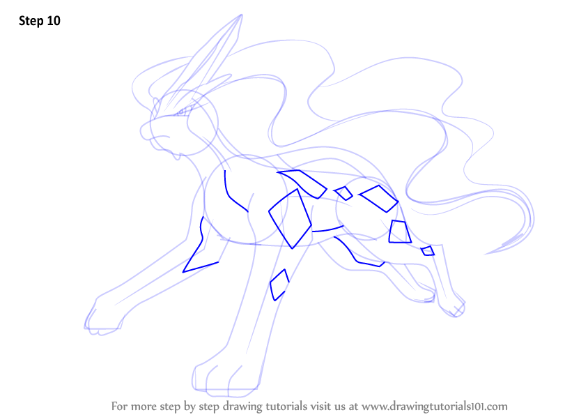 Learn how to draw suicune from pokemon pokemon step by for How to make doodle art