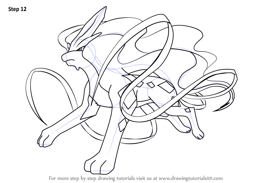Learn How To Draw Suicune From Pokemon Pokemon Step By