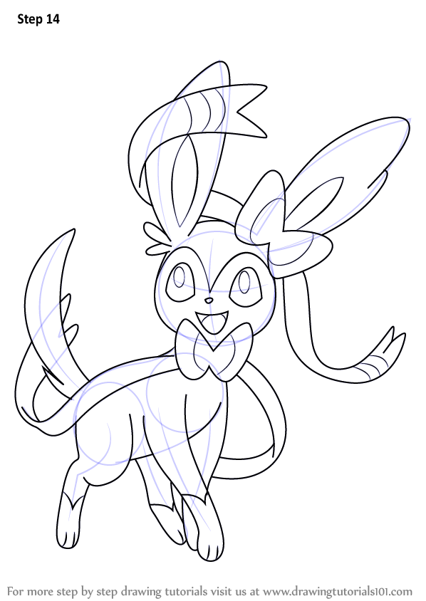 Learn How To Draw Sylveon From Pokemon Pokemon Step By