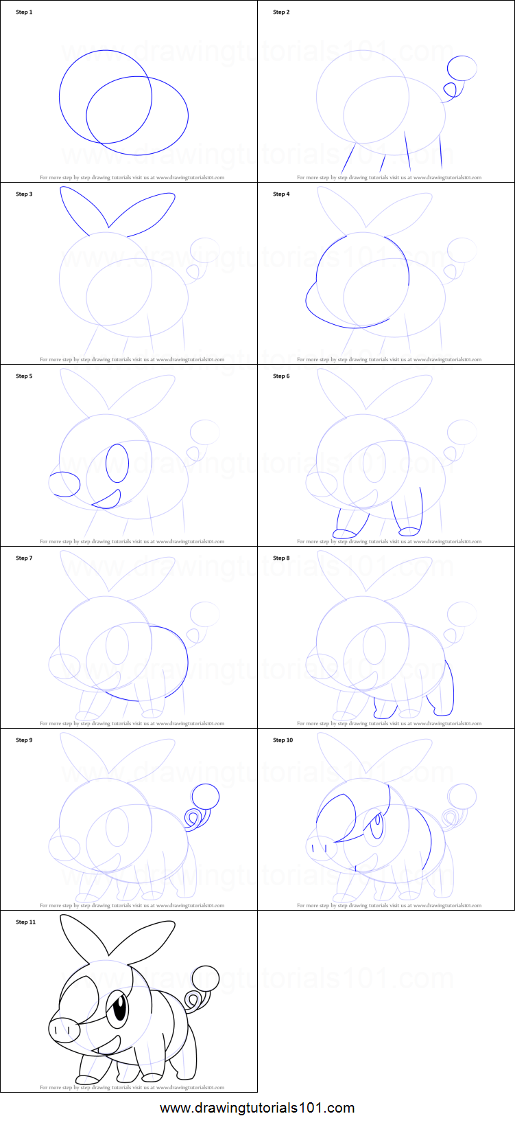 how to draw tepig step by step