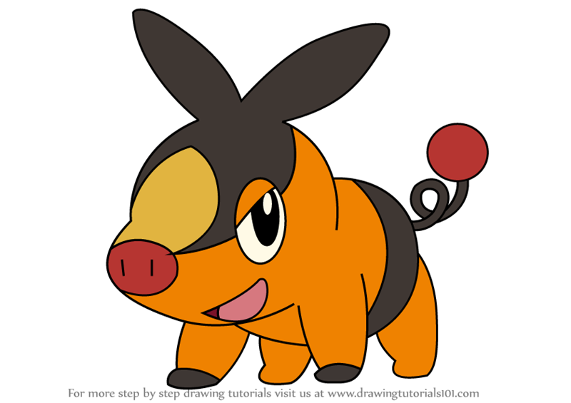 Learn How To Draw Tepig From Pokemon Pokemon Step By Step