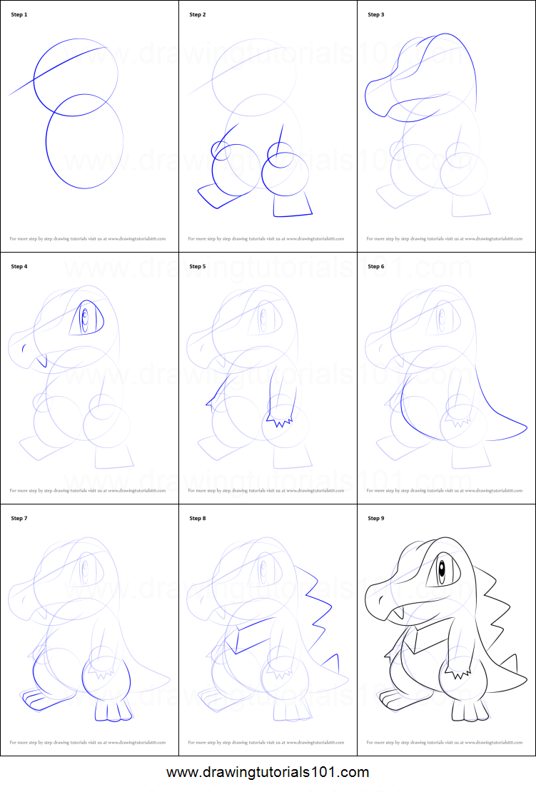 Uncategorized How To Draw Totodile how to draw totodile from pokemon printable step by drawing sheet drawingtutorials101 com
