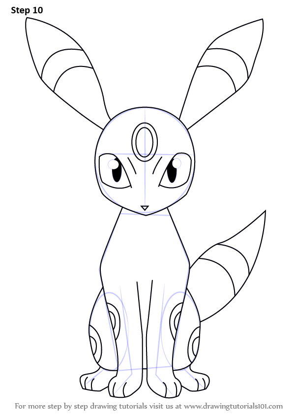 Learn How To Draw Umbreon From Pokemon Pokemon Step By