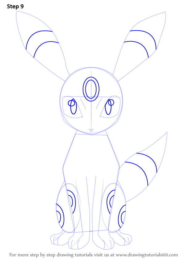 How to draw umbreon step by step