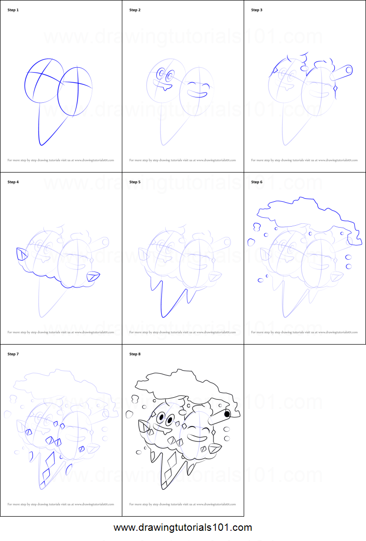 How To Draw Vanilluxe From Pokemon Printable