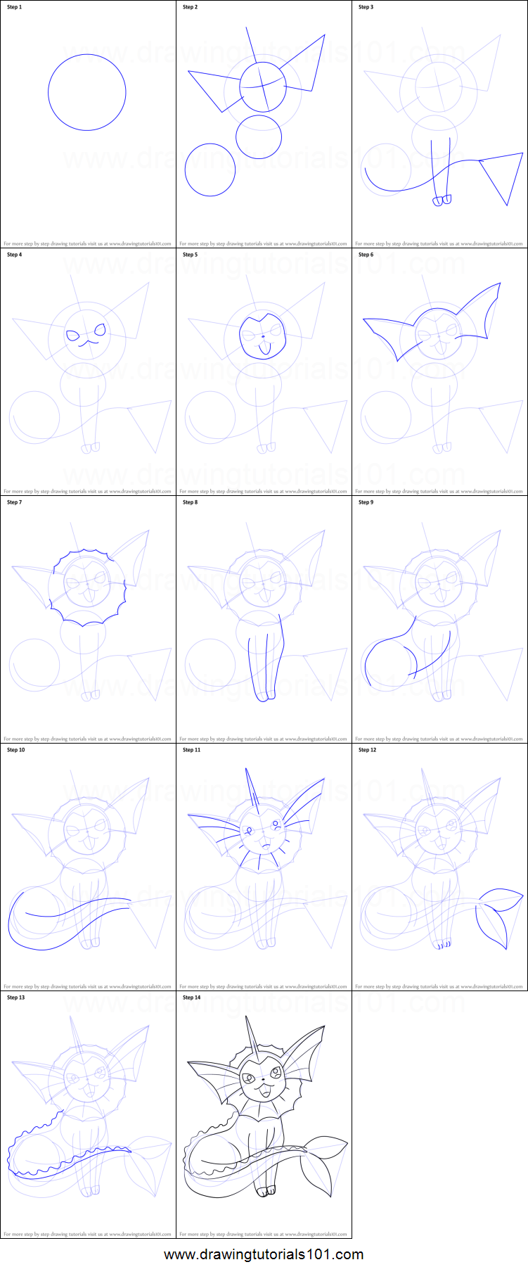 Uncategorized How To Draw Vaporeon how to draw vaporeon from pokemon printable step by drawing sheet drawingtutorials101 com