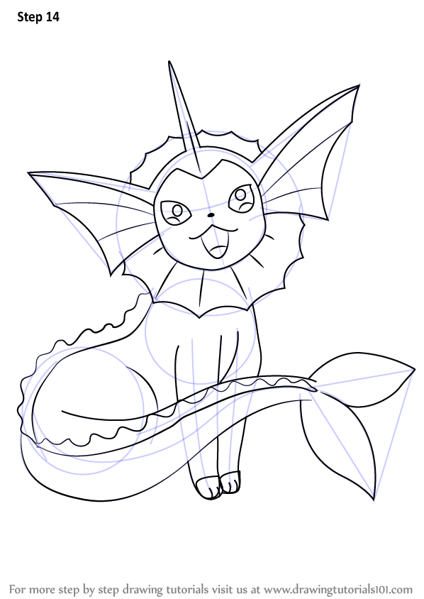 Learn How To Draw Vaporeon From Pokemon Pokemon Step By