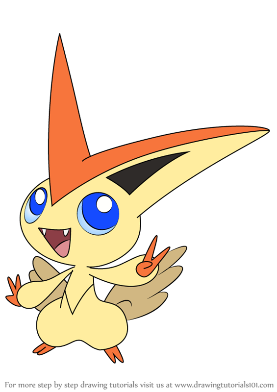 Learn How To Draw Victini From Pokemon Pokemon Step By Step Drawing Tutorials