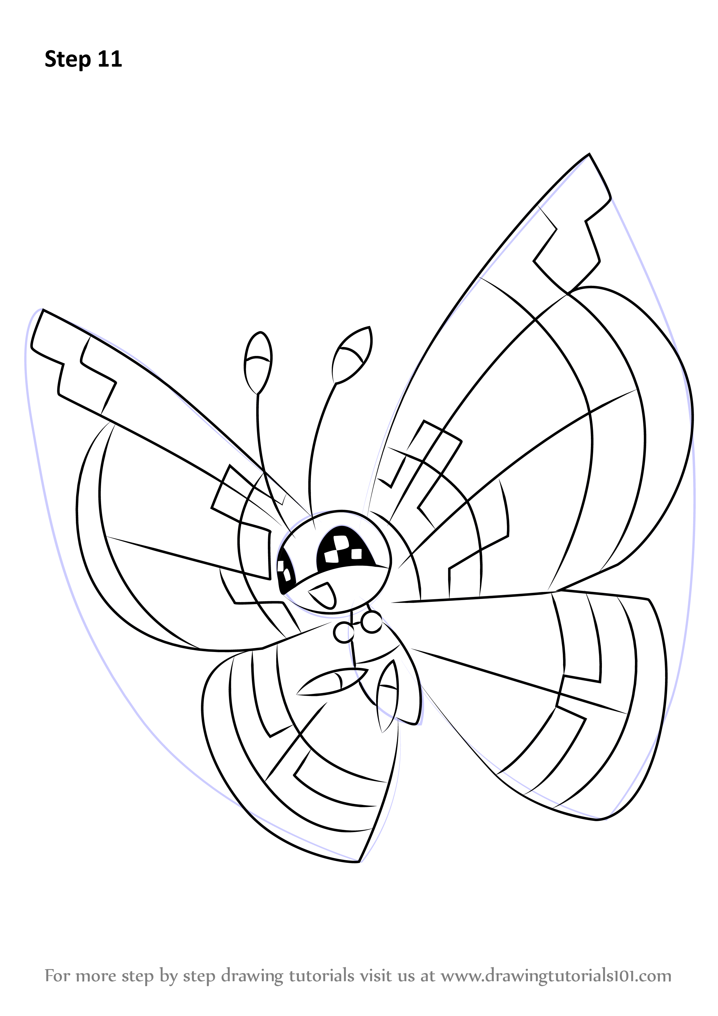 Learn How To Draw Vivillon From Pokemon Pokemon Step By Step Drawing Tutorials