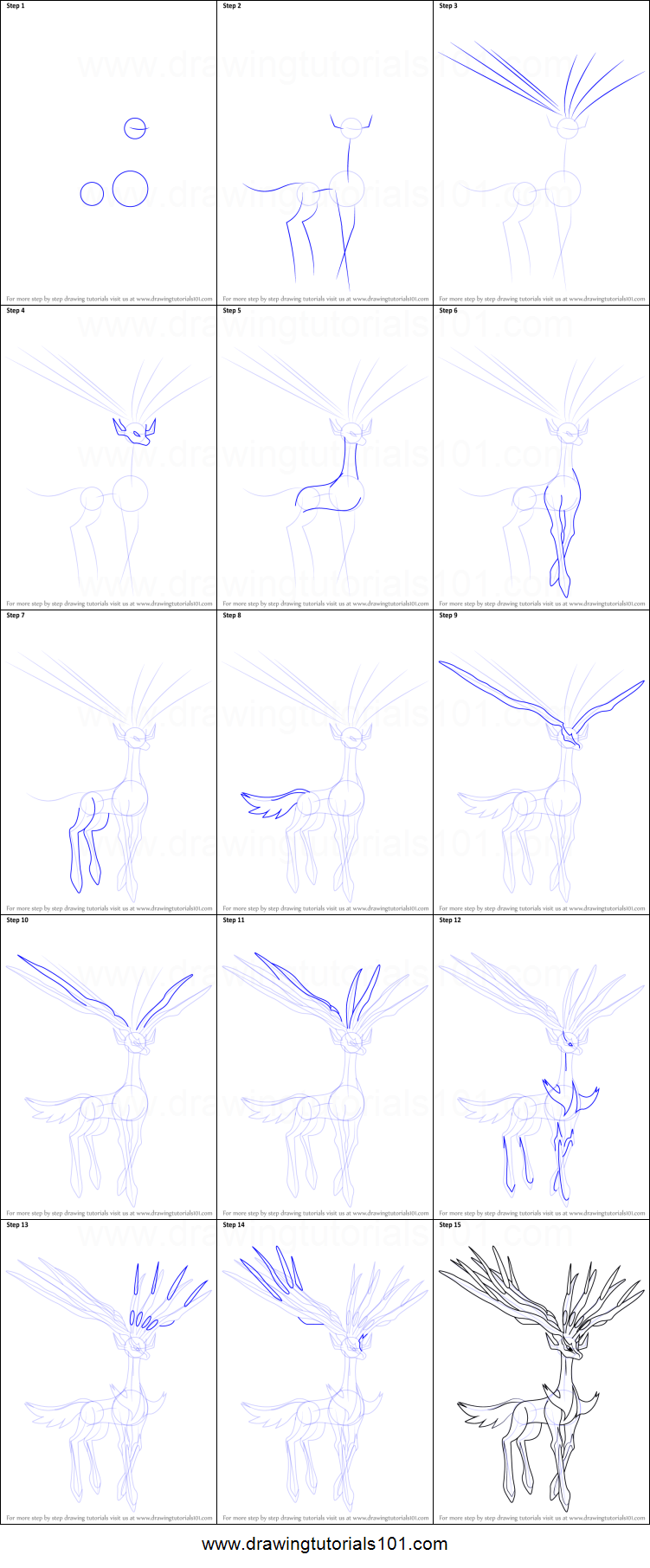 how to draw xerneas from pokemon printable step by step drawing sheet   drawingtutorials101 com