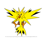 How to Draw Zapdos from Pokemon
