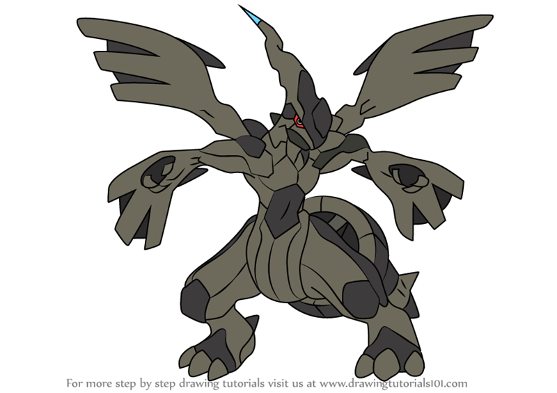 Learn How To Draw Zekrom From Pokemon Pokemon Step By
