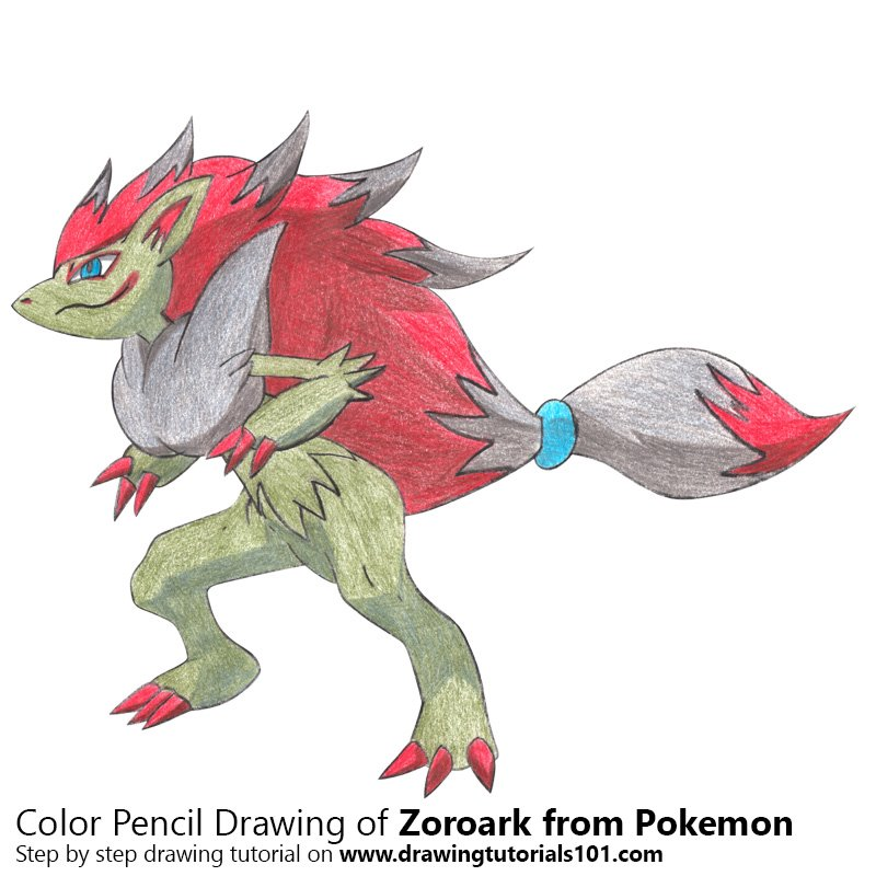Zoroark from Pokemon Color Pencil Drawing