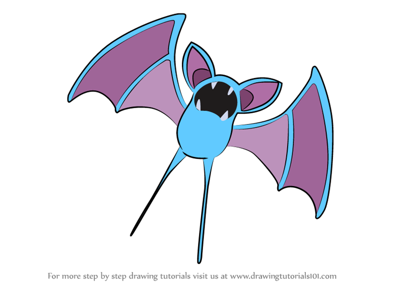 Learn How To Draw Zubat From Pokemon Pokemon Step By