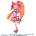 How to Draw Momoko Akatsutsumi from Powerpuff Girls Z