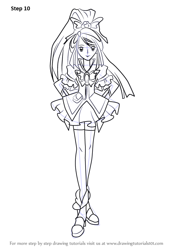 Step By Step How To Draw Cure Aqua From Pretty Cure