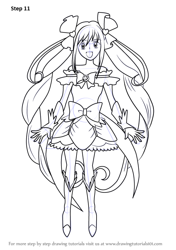 Step By Step How To Draw Cure Echo From Pretty Cure