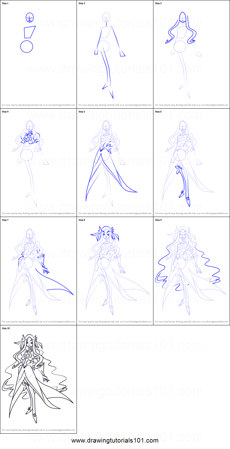 How To Draw Cure Flower From Pretty Cure Printable Step By Step