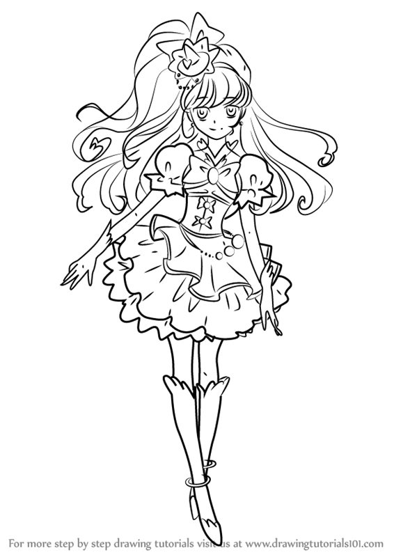 learn how to draw cure miracle from pretty cure pretty cure step