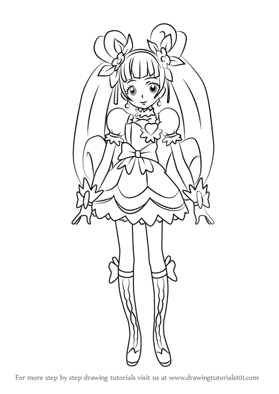 Step By Step How To Draw Cure Rosetta From Pretty Cure