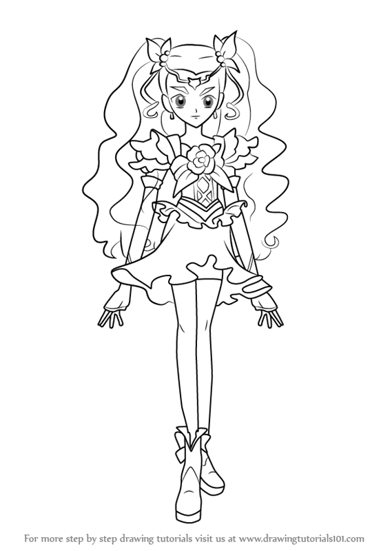 How to draw milky rose from pretty cure