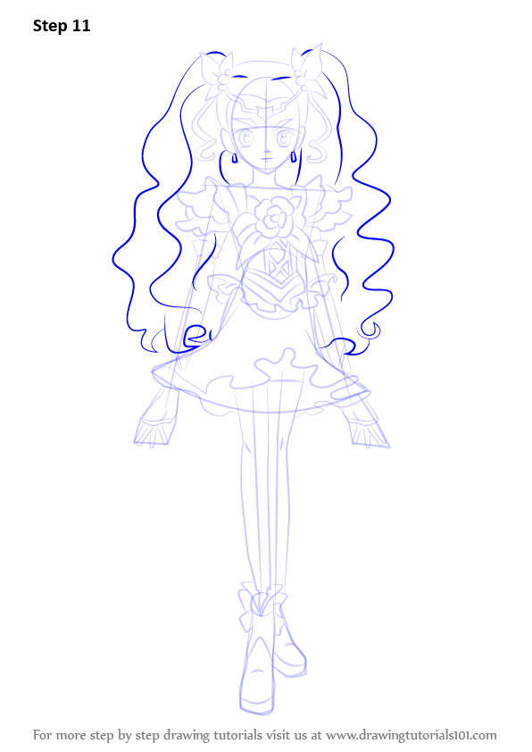 Step By Step How To Draw Milky Rose From Pretty Cure