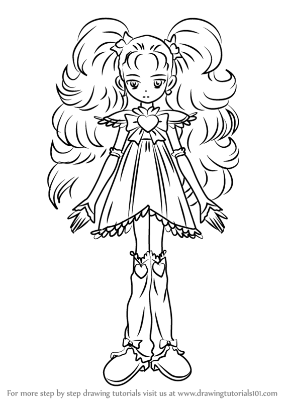 learn how to draw shiny luminous from pretty cure pretty cure step