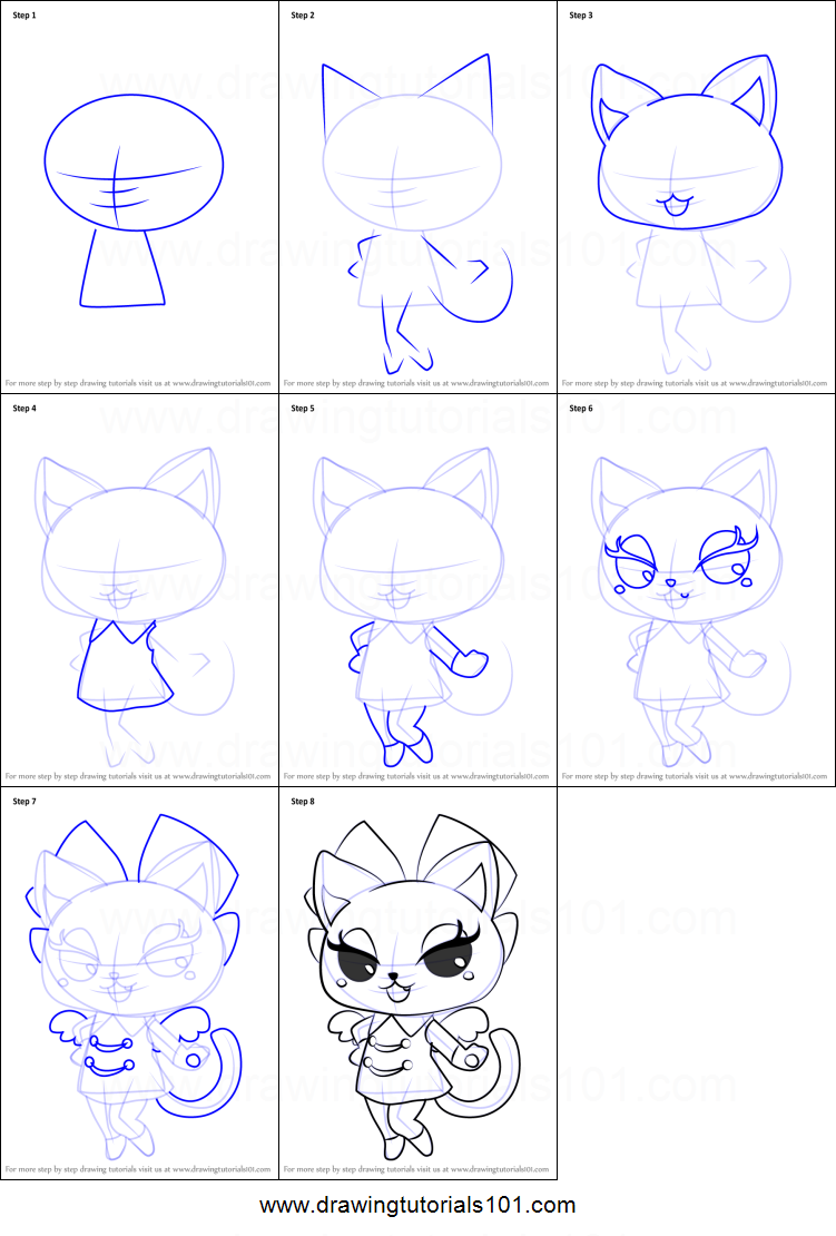 How To Draw Neko From Pripara Printable Step By Step Drawing Sheet
