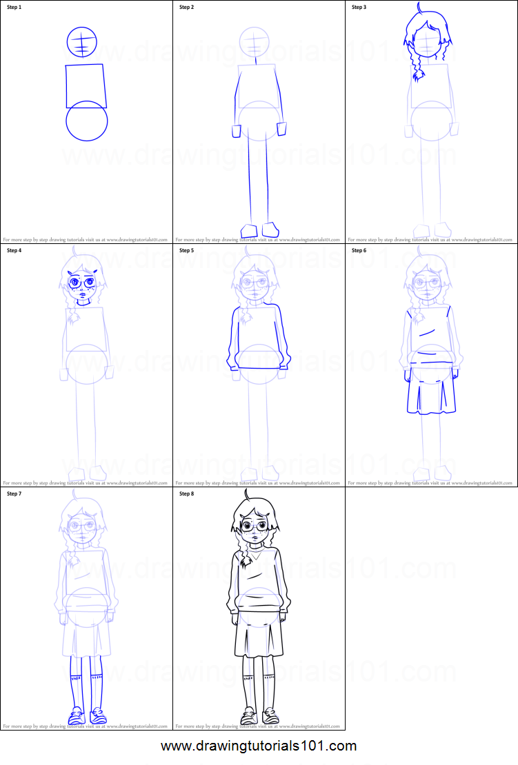 how to draw tsukimi kurashita from princess jellyfish printable step by step drawing sheet drawingtutorials101com