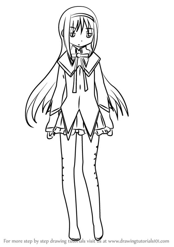 How To Draw Homura Akemi From Puella Magi Madoka Magica