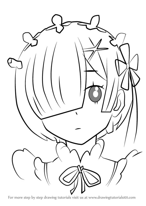 Learn How To Draw Rem From Re Zero Re Zero Step By Step