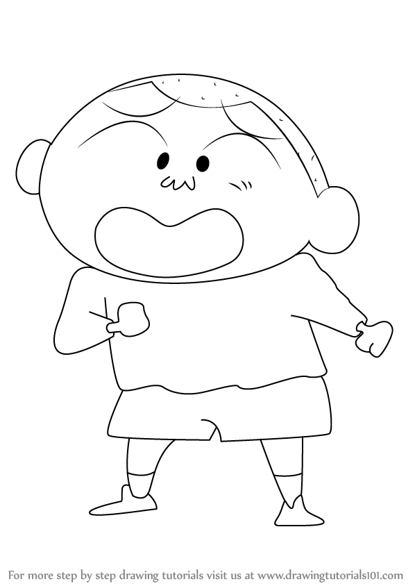 Learn How To Draw Masao From Shin Chan (Shin Chan) Step By Step  Drawing Tutorials