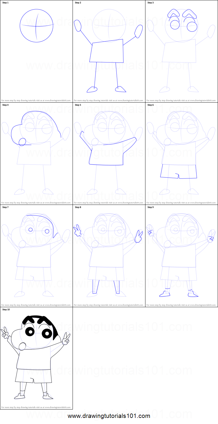 How To Draw Shin Chan Printable Step By Step Drawing Sheet Drawingtutorials101 Com