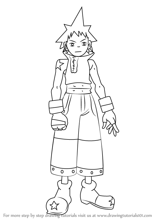 Anime character coloring pages soul eater ~ Learn How to Draw Black Star from Soul Eater (Soul Eater ...