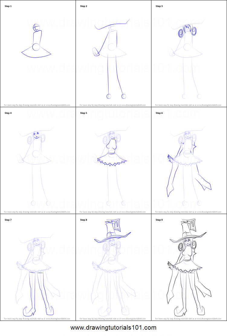 How To Draw Blair From Soul Eater Printable Step By Step Drawing
