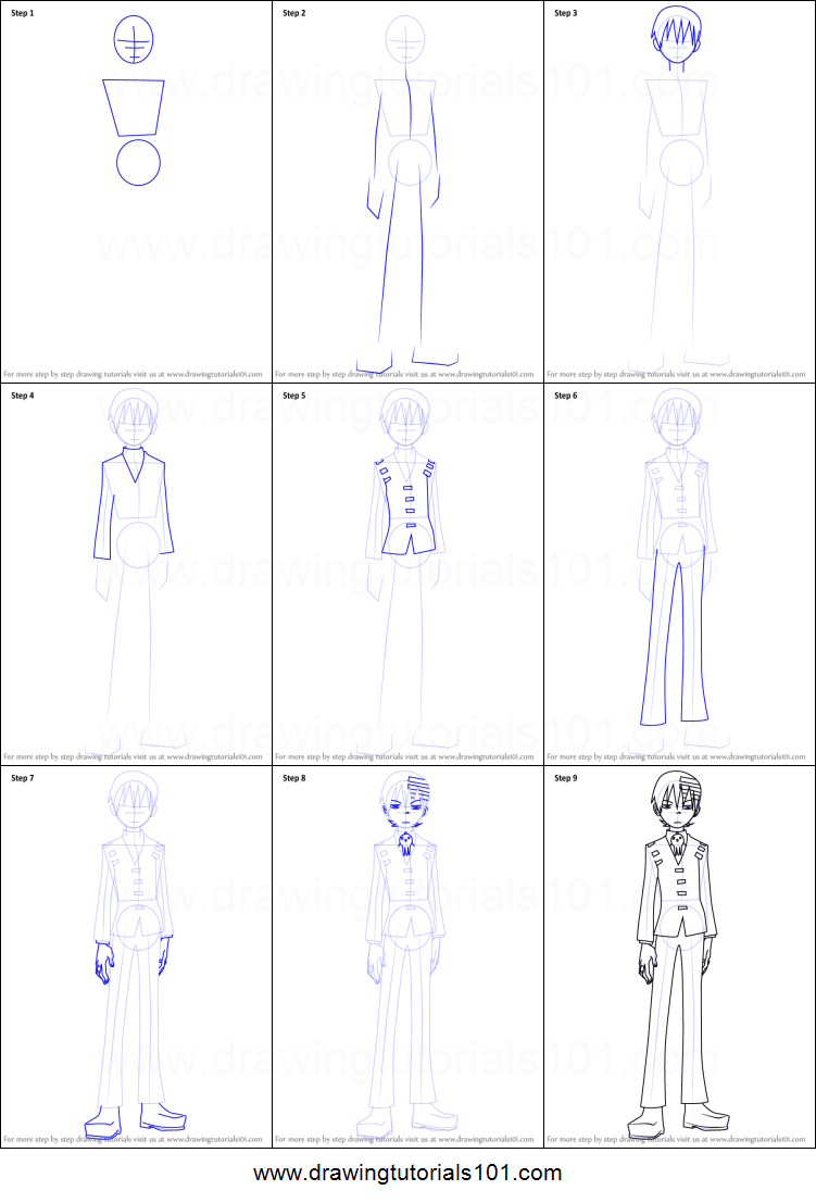 How To Draw Death The Kid From Soul Eater Printable Step By Step