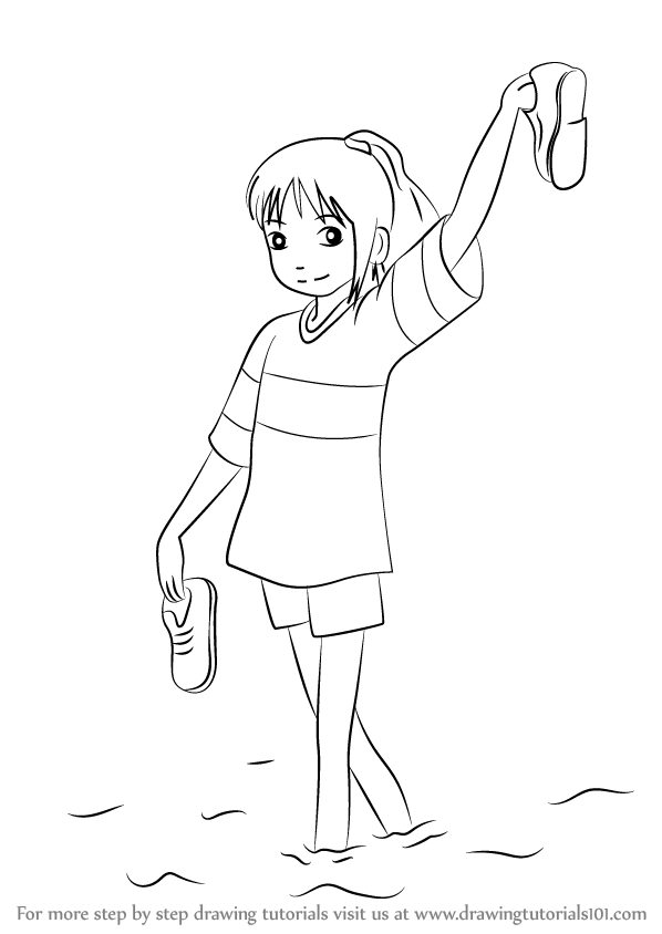 step by step how to draw chihiro ogino from spirited away