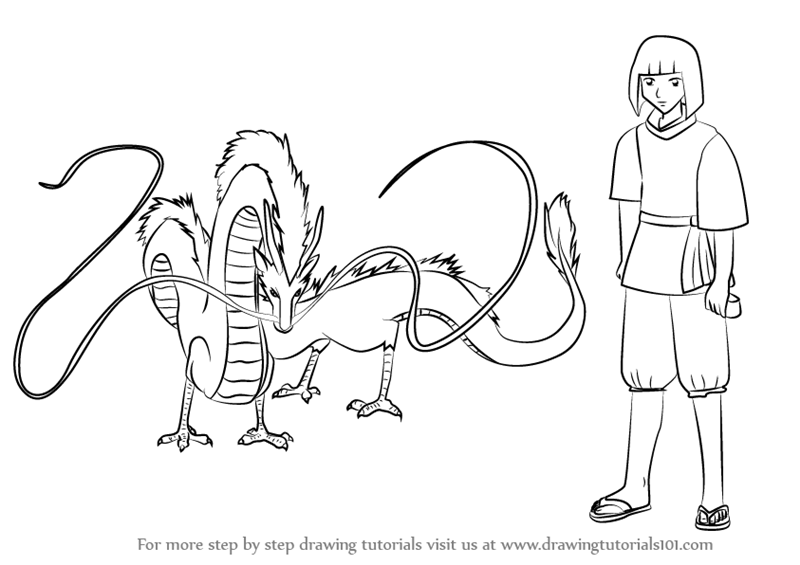 Learn How To Draw Haku From Spirited Away Spirited Away Step By Step Drawing Tutorials