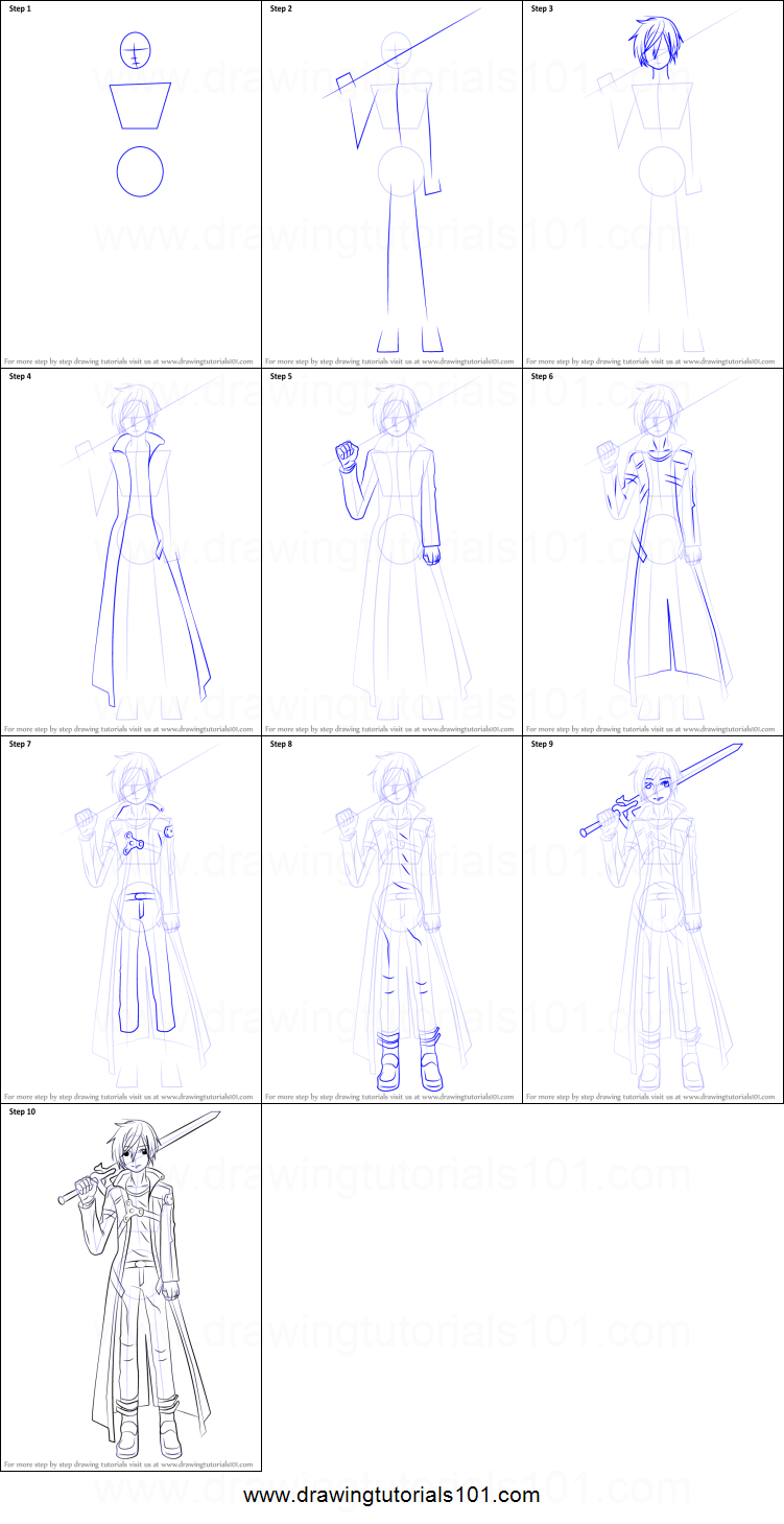 How To Draw Kirito From Sword Art Online Printable Step By