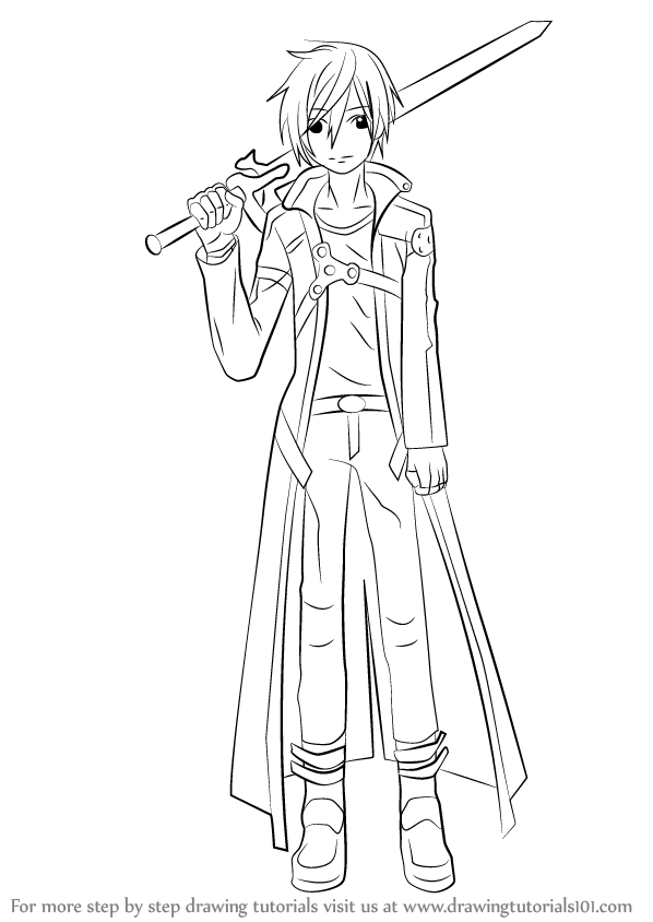 Kirito sword art online pencil coloring pages for Sketch it online