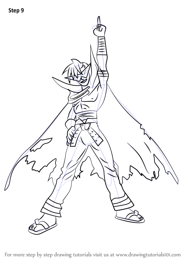 Learn How to Draw Kamina from Tengen Toppa Gurren Lagann