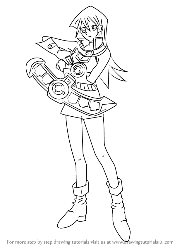 Step By Step How To Draw Alexis Rhodes From Yu Gi Oh Gx