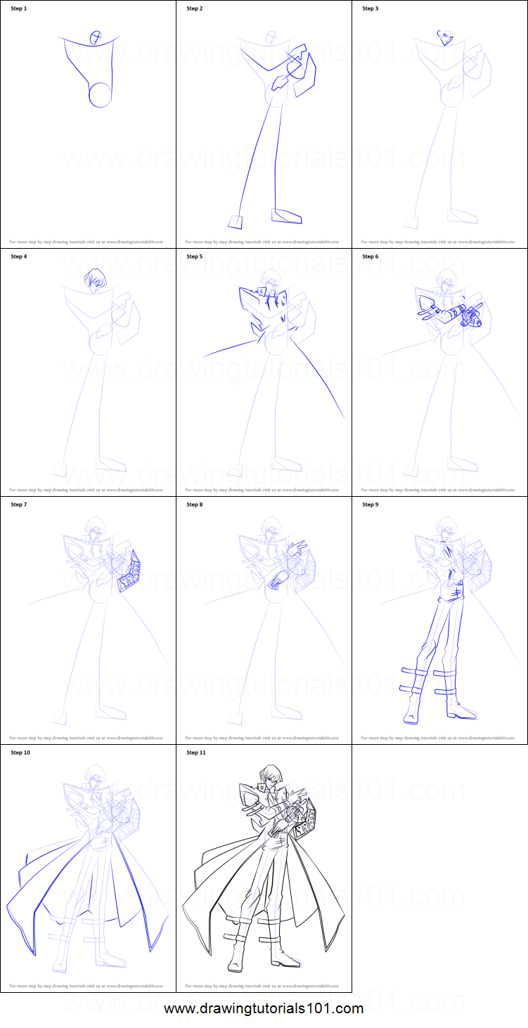 How to Draw Seto Kaiba from Yu-Gi-Oh! printable step by ... Easy Anime Drawings For Beginners Step By Step