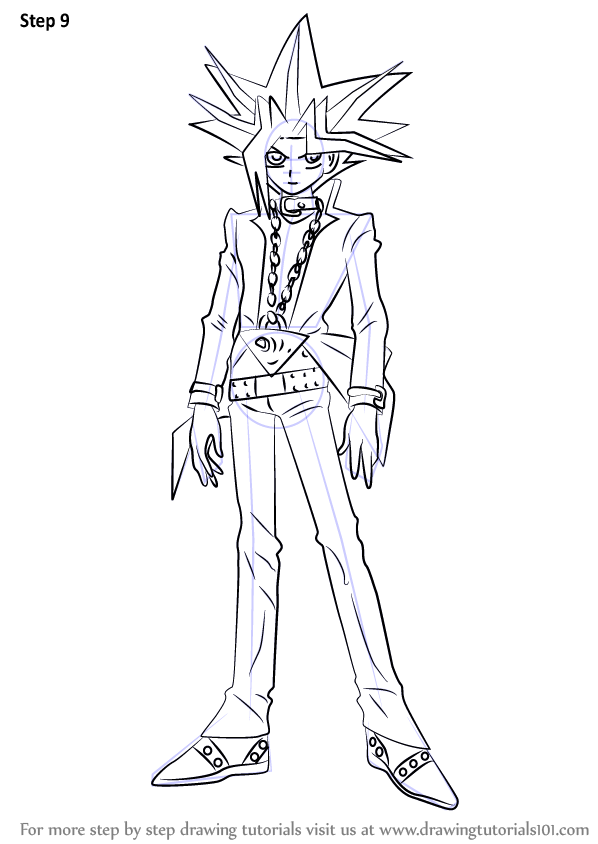 Step by Step How to Draw Yugi Muto from YuGiOh