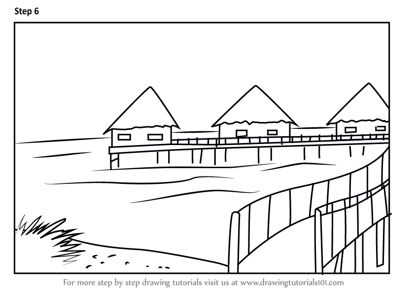 Learn How to Draw Beach Huts Beaches