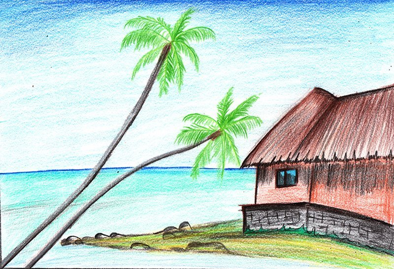 Beach Scenery Color Pencil Drawing