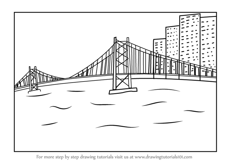 Learn How To Draw A City Bridge Scenery Bridges Step By Step